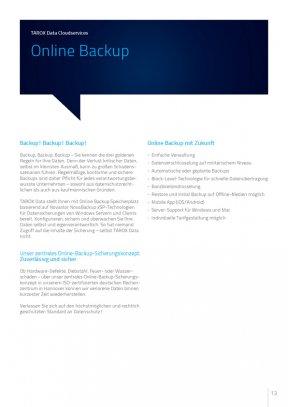 TAROX Data Cloudservices, Online Backup, Broschüre 2015