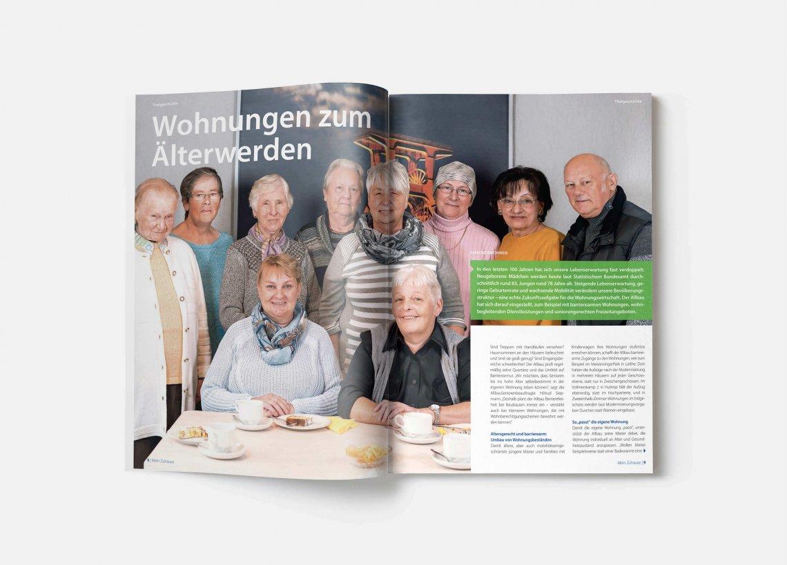 """Titelgeschichte der Ausgabe 68: Allbau - Mein Zuhause """"Wohnungen zum Älterwerden"""""""