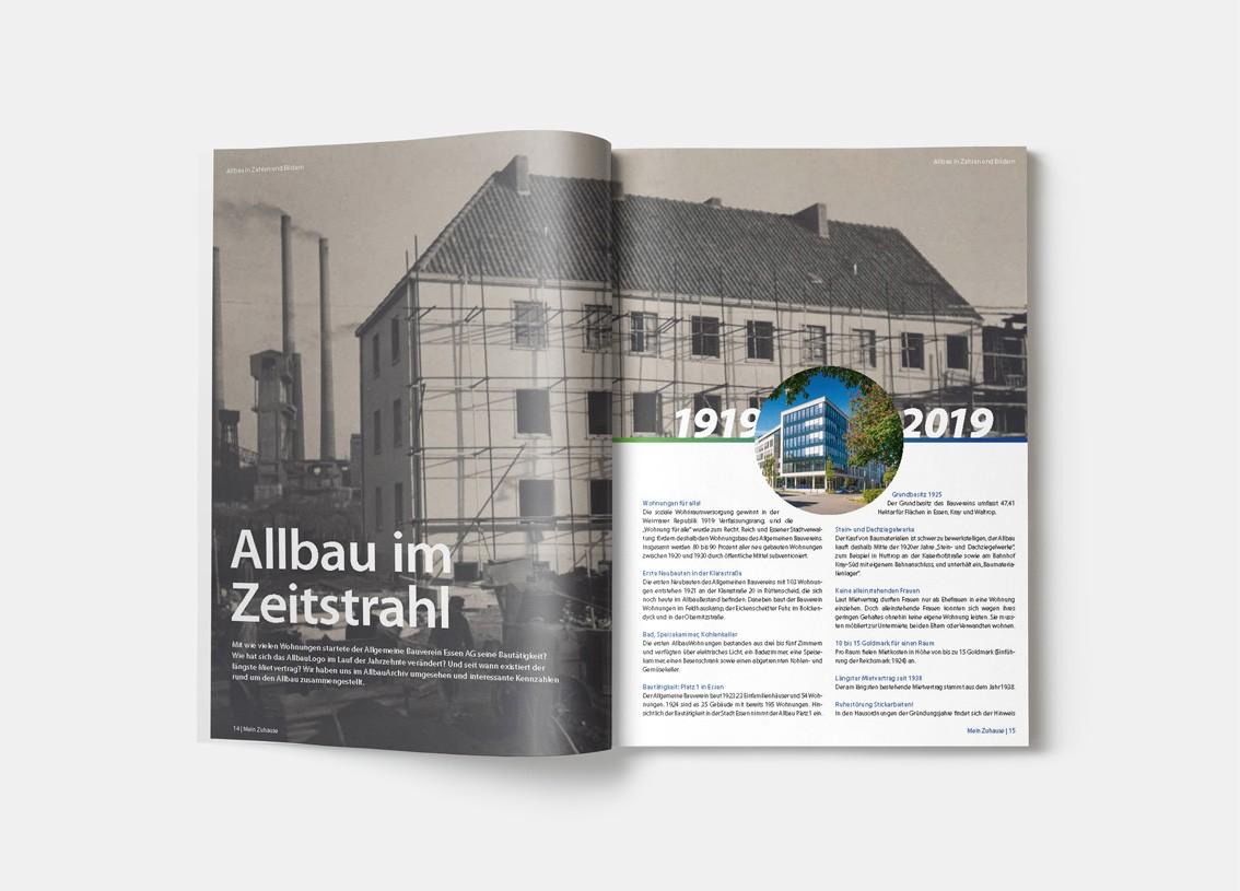 Allbau-Jubiläumsmagazin: Allbau im Zeitstrahl