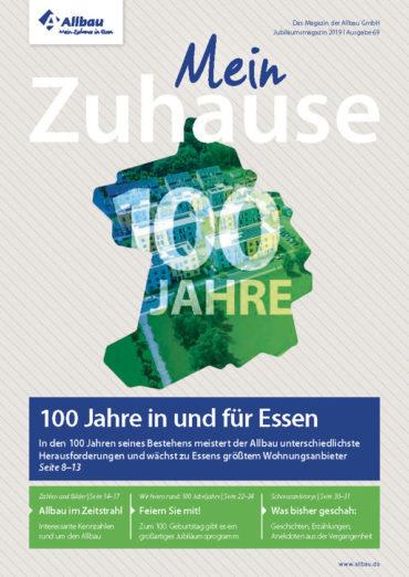 Titelseite des Allbau-Jubiläumsmagazins 2019
