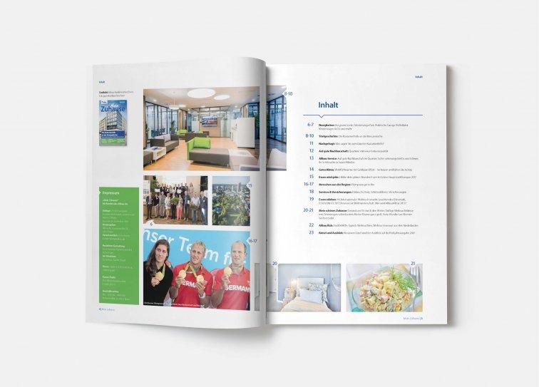 """Inhaltsverzeichnis Mietermagazin der Allbau GmbH """"Mein Zuhause"""", 2016"""