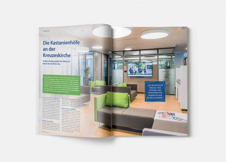 """Titelgeschichte über die Kastanienhöfe an der Essener Kreuzeskirche: Mietermagazin der Allbau GmbH """"Mein Zuhause"""", 2016"""