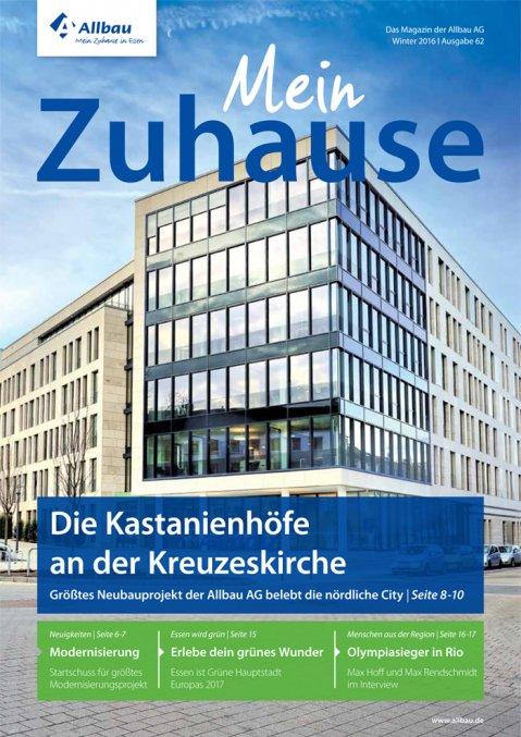 """Titelseite des Mietermagazins der Allbau AG """"Mein Zuhause"""", 2016"""