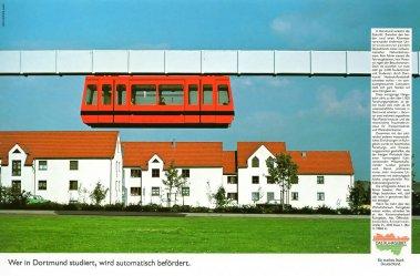 """Wer in Dortmund studiert, wird automatisch befördert. Kampagnenmotiv """"Das Ruhrgebiet. Ein starkes Stück Deutschland"""", 1985 - 1996 ©KVR/RVR"""