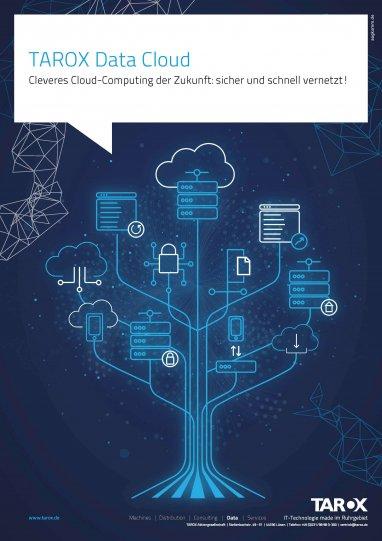 """Titelbild der Broschüre """"TAROX Data Cloud - Cleveres Cloud-Computing der Zukunft: sicher und schnell vernetzt!"""""""